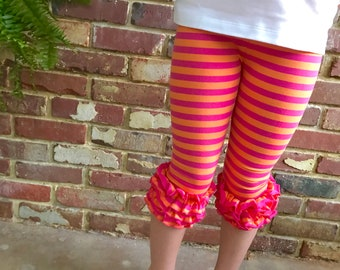 Summer Sherbet Ruffle capris - Orange and Hot Pink striped knit ruffle capris - FREE SHIPPING - Limited Quantities