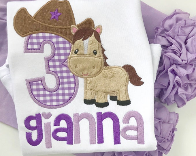 Cowgirl Birthday Shirt or bodysuit for girls, ANY AGE Horse theme birthday top in shades of purple