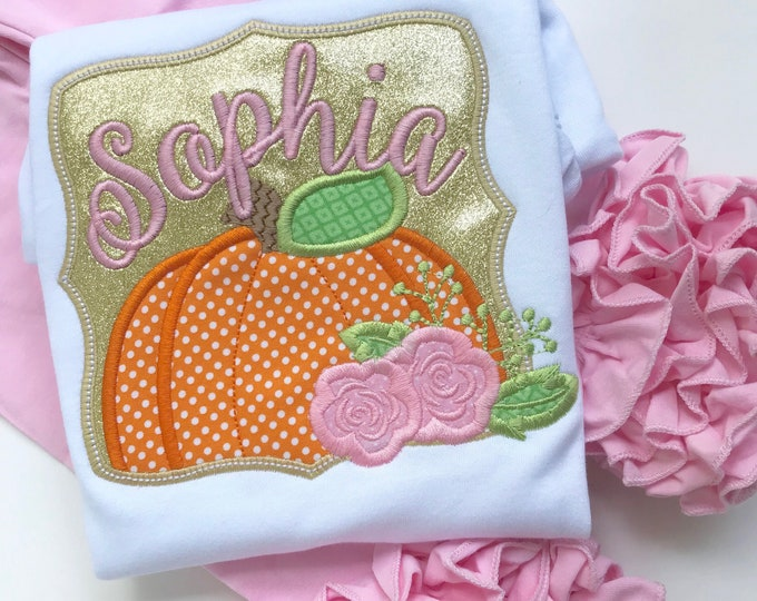 Floral Pumpkin shirt or bodysuit for girls - Pretty Pumpkin Patch - floral pink and gold pumpkin personalized with name