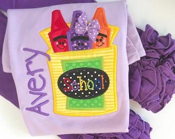 Girls Back to School Shirt-- The Future Is Bright -- lavender crayon shirt -- pre-k, kindergarten, 1st grade, 2nd grade