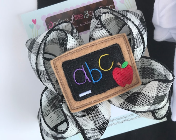 Chalkboard Bow - Back to School Bow - 5 to 6 inch black and white buffalo check bow with chalkboard center
