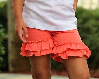 Coral Ruffle Shorties, Coral Ruffle Shorts - knit ruffle shorties sizes 6m to girls 10 - Free Shipping