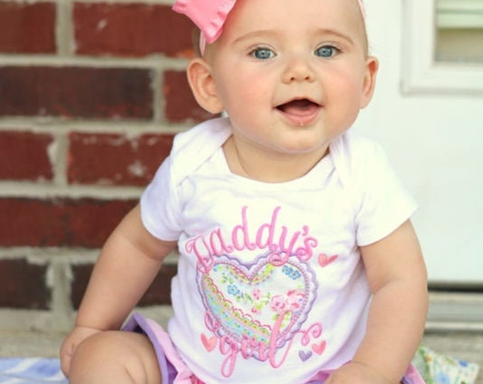 Daddy's Girl Shirt or bodysuit for girls, Father's Day shirt, Father's Day gift -- Daddy's Girl design in pink and purple for girls