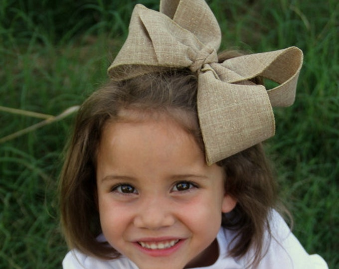 """Burlap Bow -- tan with hints of gold extra large 6-7"""" bow -- burlap look perfect for Autumn"""