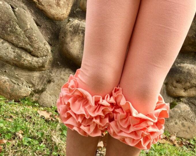 Peach Ruffle Capris - knit ruffle capris sizes 6m to girls 8 - Free Shipping
