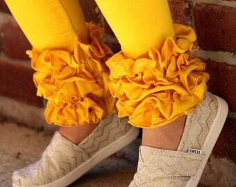 Mustard Ruffle Leggings - Mustard Icings Ruffle Leggings - gorgeous knit ruffle leggings - size NB to 10