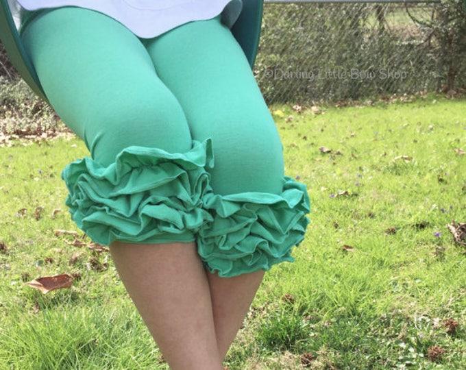 Mint Ruffle Capris - knit ruffle capris sizes 6m to girls 8 - Free Shipping