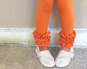 Pumpkin Ruffle Leggings - pumpkin Icings Ruffle Leggings - gorgeous knit ruffle leggings - size NB to 10