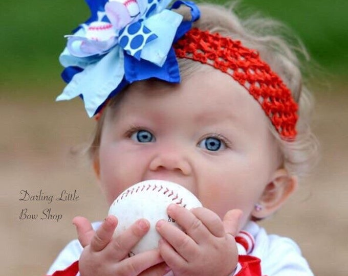 Baseball bow for girls - baseball theme in your team colors -- layered baseball hairbow with optional headband