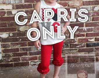 Red Ruffle Capris - Candy Apple red knit ruffle capris sizes 6m to girls 8 - Free Shipping