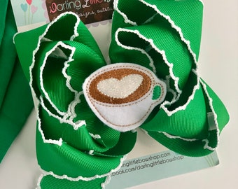 Coffee Hairbow -- Mommy's Favorite -- Latte theme hairbow in green with latte center