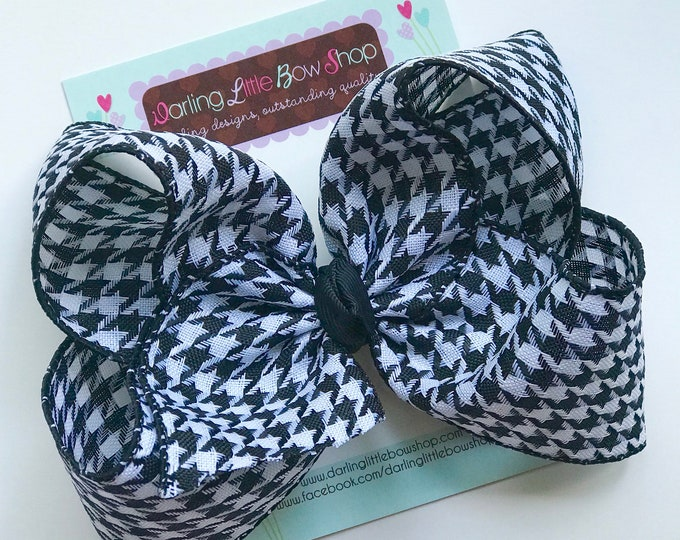 """Houndstooth bow, houndstoothl hairbow -- 4-5"""" or 6-7"""" lightweight bow"""