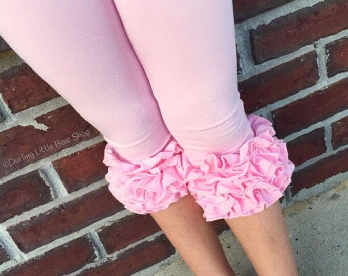 Powder Pink Ruffle Capris - knit ruffle capris sizes 6m to girls 8 - Free Shipping