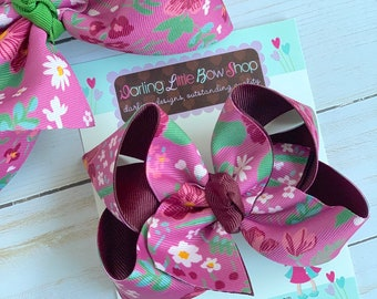 "Hairbows to match Matilda Jane - Back To School Apple Orchard - choose 4-5"" or 6"" bow"