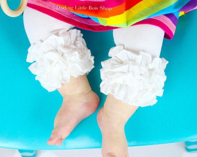 White Ruffle Capris - White knit ruffle capris sizes 6m to girls 8 - Free Shipping