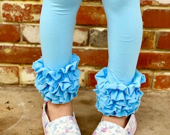 Cotton Candy Blue Ruffle Leggings - Light Blue Ruffle Leggings - gorgeous knit ruffle leggings - size NB to 10 with FREE SHIPPING