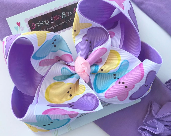 """Peep bow, Peep hairbow in pink, light purple, yellow and aqua -- choose 4-5"""" or 6-7"""" bow -- Large hairbow with optional headband"""