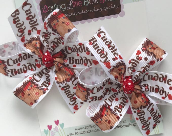"""Valentines Day Pigtail Bows, Hedgehog pigtail bows - Cuddle Buddy - sweet 3"""" hedge hog bow set"""