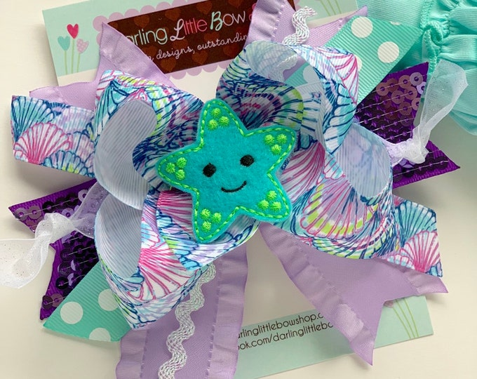 Starfish bow, Mermaid hairbow, seashell hairbow, purple and aqua mermaid theme hair bow, over the top bow