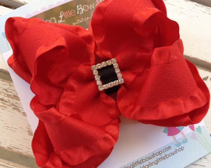 Santa Ruffle bow for Christmas -- double ruffle layered bow, with diamond slide center -- Santa's belt