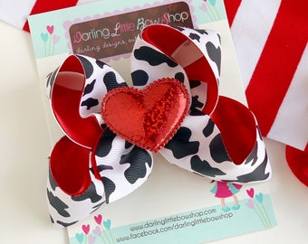 Valentine Bow -- Valentine Cow Print bow with heart center