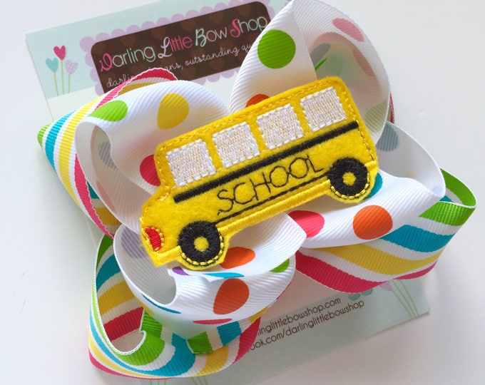 "School Bus bow - fun rainbow double stacked bow with school bus center - 5"" bow for back to school"