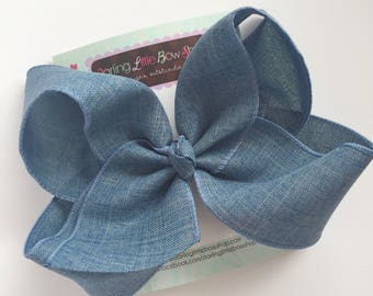 "Denim look Bow -- denim blue large 6-7"" bow -- beautiful bow to match so many outfits"