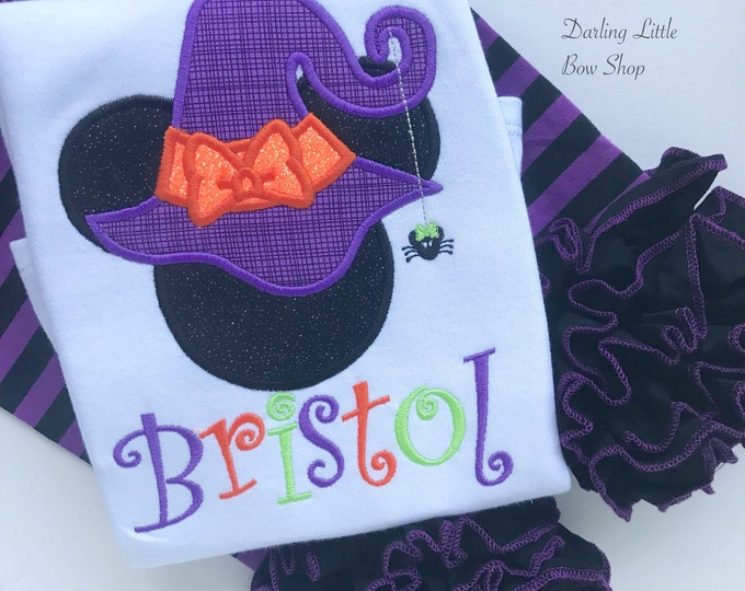 Not So Scary Halloween shirt or bodysuit for girls, Witchy Minnie, Miss Mouse Witchy -- ADORABLE!