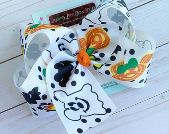 "Halloween Bow - Not So Scary Miss Mouse Ghost, Pumpkin bow - choose 4-5"" or 7"" bow LIMITED"