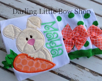 Baby Girl Easter Outfit -- Carrots & Cream -- Easter Bunny bodysuit and leg warmers -- coral, orange, mint, emerald green