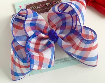 "Red white and blue Plaid hairbow -- 6-7"" or 4-5"" Large hairbow with optional headband -- patriotic bow for 4th of July"