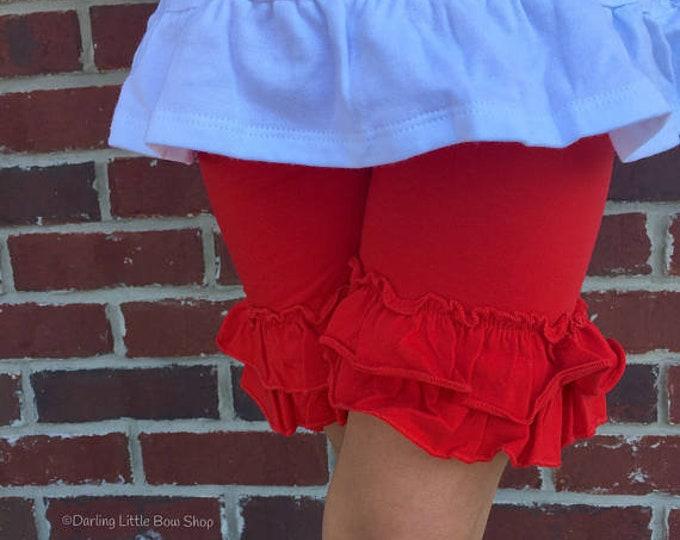 Red Ruffle Shorties, Basic Ruffle Shorts - knit ruffle shorties sizes 6m to girls 10 - Free Shipping
