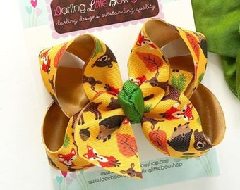 "Fox Bow, Woodland Animals hairbow orange, green and gold - choose 4-5"" or 6-7"""