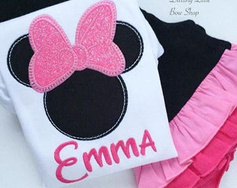 Miss Mouse shirt or bodysuit for girls -- Pretty Pink Sparkle -- Miss Mouse shirt in sparkly pink