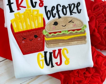 Fries before Guys shirt or bodysuit for girls -- fun burger and fries top