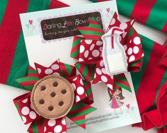 Christmas Bows -- Santa's Milk and Cookies --  Pigtail Bow Set for Christmas, cookies and milk Christmas hairbow set