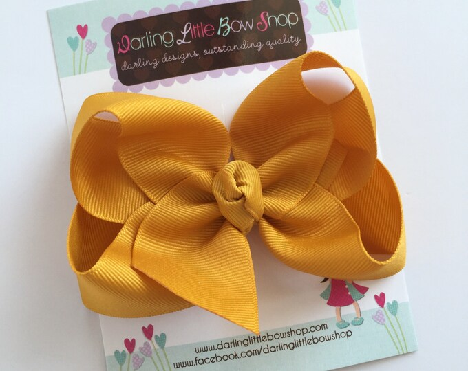 "Mustard Gold Bow, Mustard Gold Hairbow -- choose 3"" 4"" 5"" or 6"" bow -- AMAZING quality handmade in Tennessee -- match for Matilda Jane"