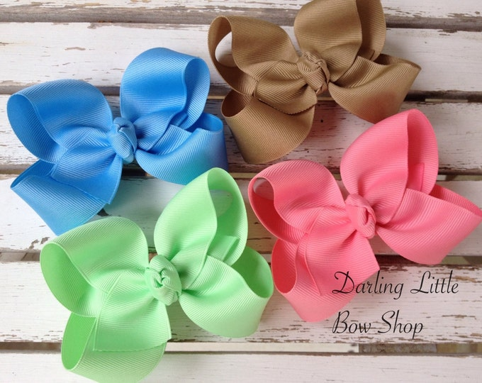 Large Boutique Bow Set - Happy Hearts Collection - Colors to Match Matilda Jane Hello, Lovely - Emelia pink, khaki, pastel lime, pastel blue