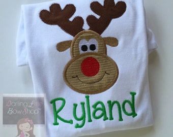Christmas bodysuit or Shirt for Boys -- Reindeer -- fun Rudolf with corduroy antlers