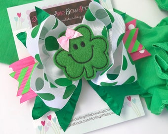 "St. Patrick's Day Bow --- pink and green bow -- Pretty Clover --- 5-6"" bow with Shamrock center -- Optional Headband"