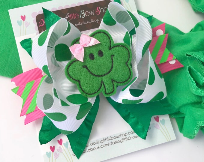 """St. Patrick's Day Bow --- pink and green bow -- Pretty Clover --- 5-6"""" bow with Shamrock center -- Optional Headband"""