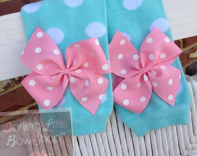Aqua Polka Dot Leg Warmers -- baby girl leg warmers in aqua polka dot with pink bows