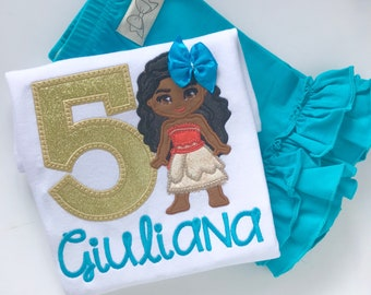 Moana Birthday Shirt or bodysuit for girls, Moana shirt in gold, coral and turquoise