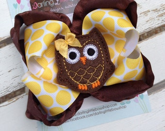 Owl bow with optional headband -- Autumn Owl -- polka dot and ruffle ribbon with owl center -- brown and amber gold
