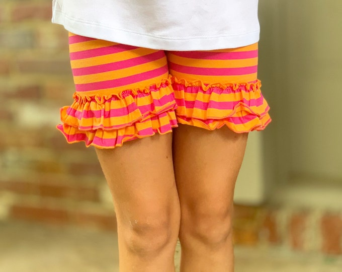 Sherbet Ruffle Shorties, hot pink pink and orange cream striped - knit ruffle shorties sizes 6m to girls 10 - Free Shipping