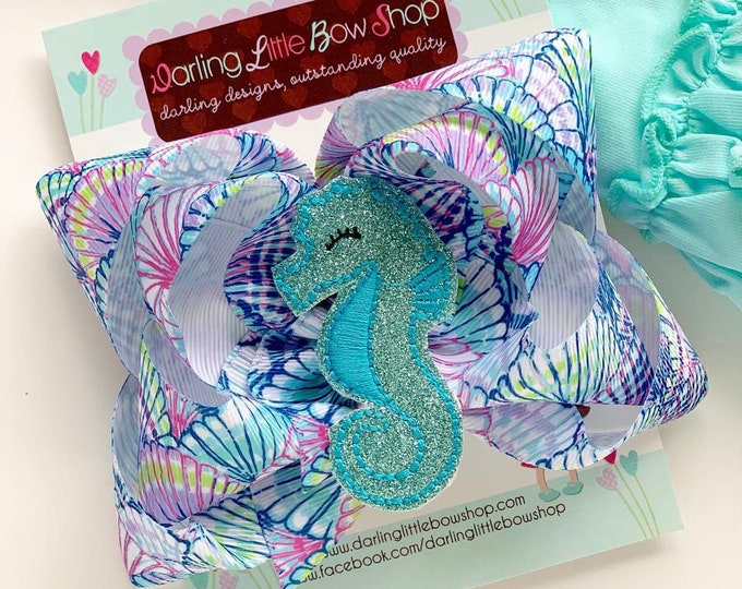 Seahorse bow, Mermaid hairbow, seashell hairbow, purple and aqua Seahorse theme hair bow made with lilly Pulitzer ribbon