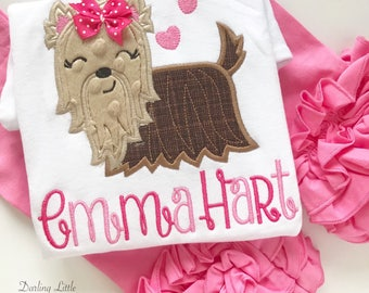 Yorkie shirt or bodysuit for girls -- Puppy Princess -- Yorkie Valentine shirt in pretty pinks with her name