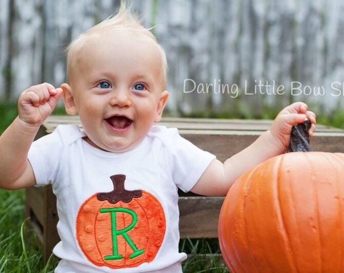 Boys pumpkin bodysuit or shirt -- Thanksgiving shirt or bodysuit  -- Soft Pumpkin -- orange and green pumpkin