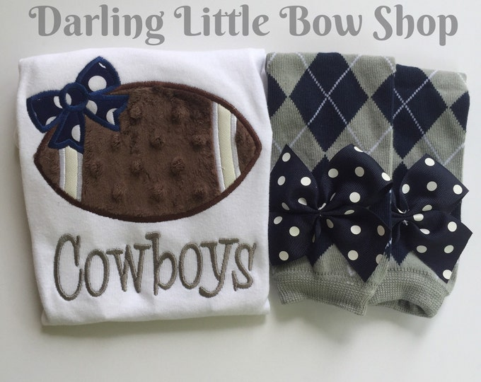 Baby Girl Football oufit -- Football Princess -- football bodysuit and leg warmers - CHOOSE colors to match YOUR TEAM