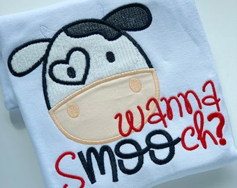 "Boys Valentine shirt or bodysuit, cow theme ""wanna sMOOch?"", fun cow valentine shirt in red and black"